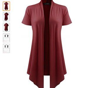 Women's Short Sleeve Open Front Drape Cardigan